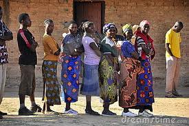 African women in a queue